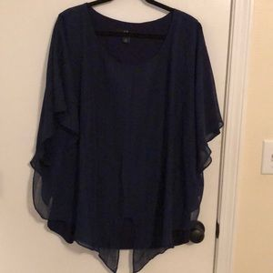 Sheer Navy blouse with lining